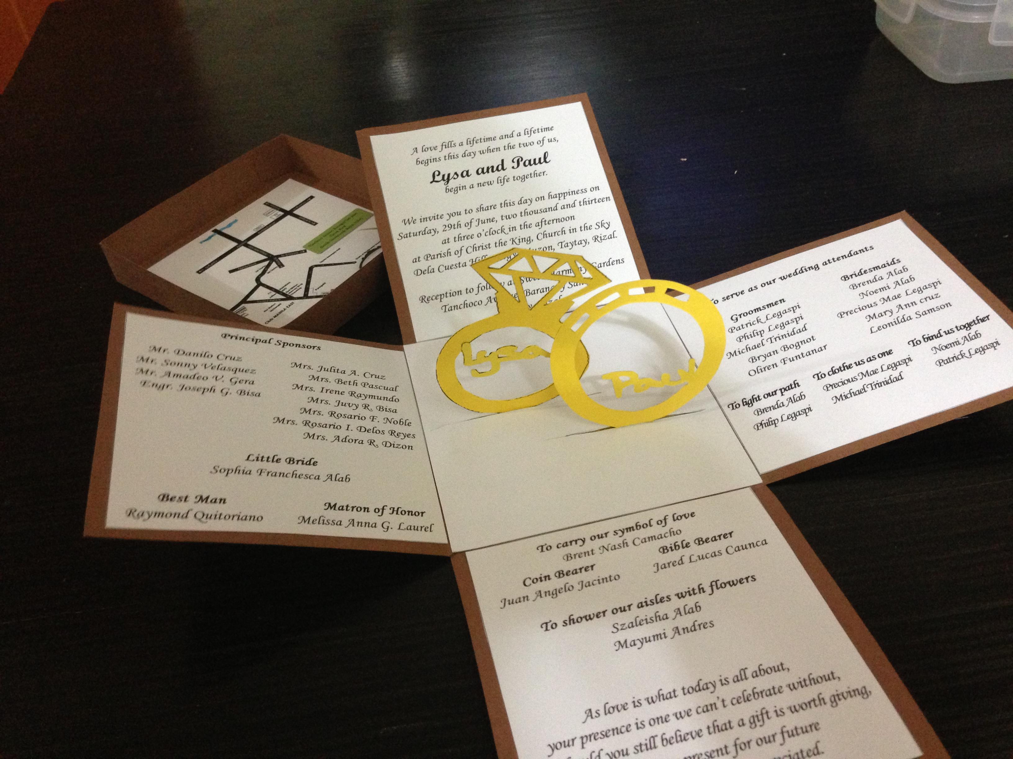 Wedding Invitation Pop Up with luxury invitation sample
